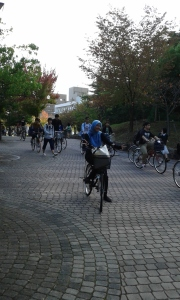 Bikers in the campus,  some days after arrival
